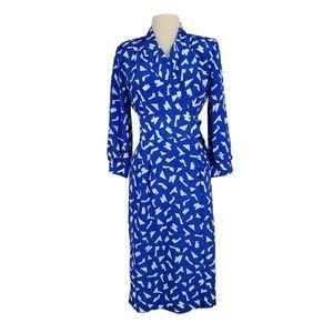 Vintage 70s Blue Confetti Wrap Dress